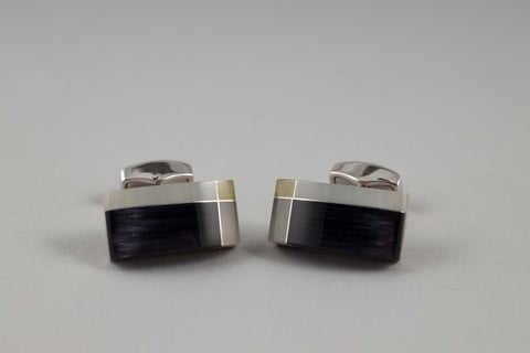 Tateossian Black/White Cufflinks - Smyth & Gibson Shirts