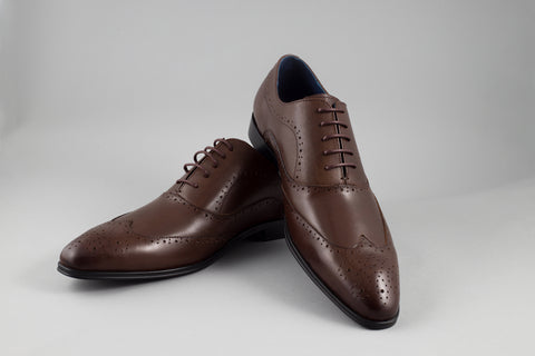 Remus Uomo Leather Wingtip Brogue in Brown - Smyth & Gibson Shirts