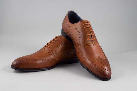 Remus Uomo Leather Wingtip Brogue in Tan - Smyth & Gibson Shirts