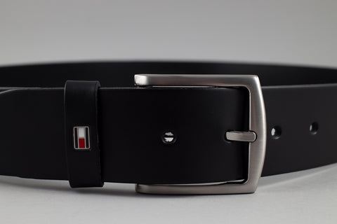Tommy Hilfiger Denton Leather Belt in Black - Smyth & Gibson Shirts