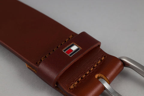 Tommy Hilfiger Denton Leather Belt in Tan