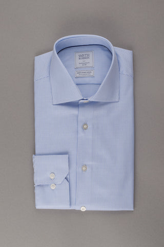 Dobby Stripe Blue Non Iron Shirt by Smyth & Gibson
