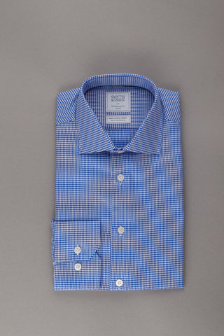 Blue Twill Houndstooth Non Iron Shirt by Smyth & Gibson