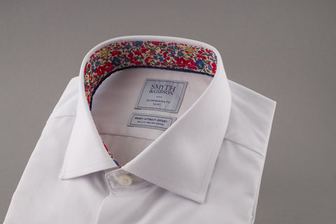 Poplin Liberty contrast Non-Iron Shirt in white