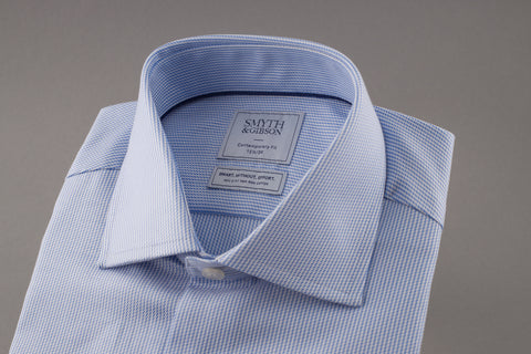 Dobby Stripe Blue Non Iron Shirt by Smyth & Gibson - Smyth & Gibson Shirts