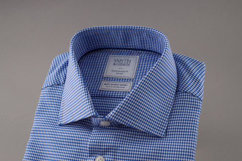 Blue Twill Houndstooth Non Iron Shirt by Smyth & Gibson - Smyth & Gibson Shirts