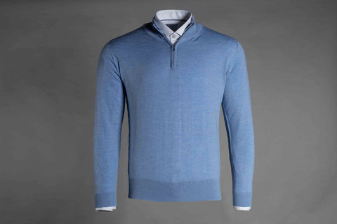 MERINO WOOL ZIP NECK JUMPER IN BLUE - Smyth & Gibson Shirts