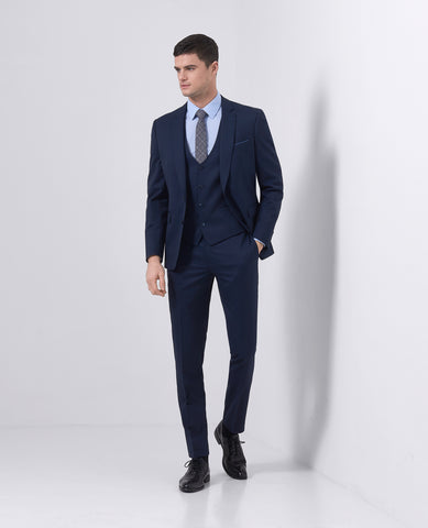 Remus Uomo Slim Fit Wool-Blend Stretch Mix & Match Suit Waistcoat in Navy