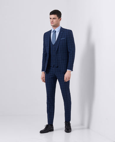 Remus Uomo X-Slim Fit Checked Wool-Blend Stretch Mix & Match Suit Trousers