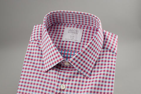 Smyth & Gibson Herringbone Slim Penny Square in Pink/Blue Multi Check - Smyth & Gibson Shirts