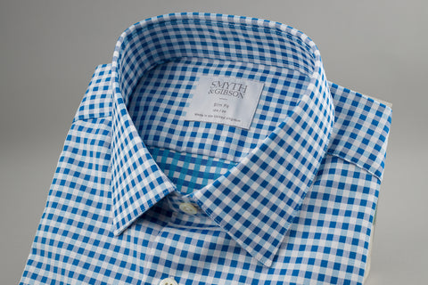 Smyth & Gibson Herringbone Slim Penny Square in Blue Multi Check