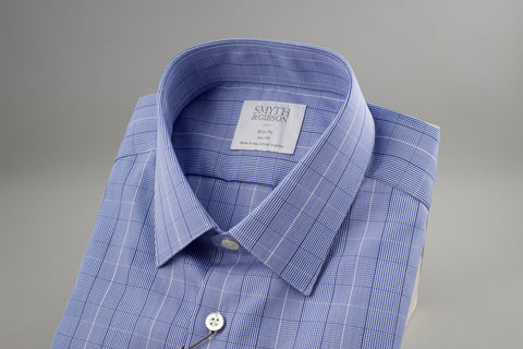 Smyth & Gibson Prince of Wales Slim Penny Square in Checked Blue - Smyth & Gibson Shirts