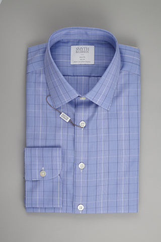 Smyth & Gibson Prince of Wales Slim Penny Square in Checked Blue