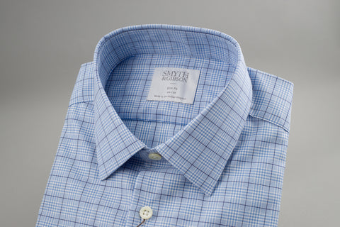 Smyth & Gibson Prince of Wales Slim Penny Square in Checked Navy