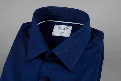 SMYTH & GIBSON S.W.E. STRETCH POPLIN SLIM FIT SHIRT IN NAVY - Smyth & Gibson Shirts