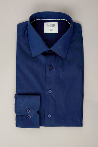 SMYTH & GIBSON S.W.E. STRETCH POPLIN SLIM FIT SHIRT IN NAVY
