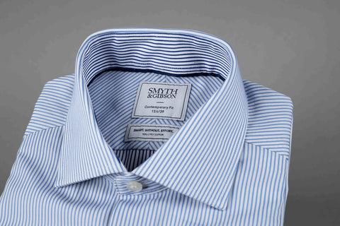 Smyth & Gibson S.W.E. Blue Bengal Stripe with Contrast Navy Stripe