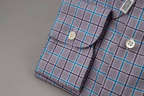 Smyth & Gibson Prince of Wales Slim Penny Square in Checked Purple/Blue