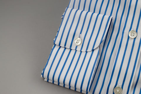 Smyth & Gibson Poplin Slim Penny Square in White with Blue Stripes