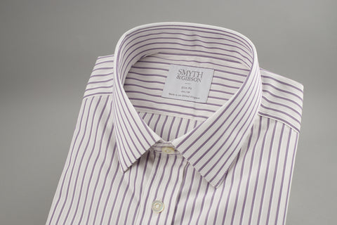 Smyth & Gibson Poplin Slim Penny Square in White with Burgundy Fine Stripes - Smyth & Gibson Shirts