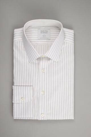 Smyth & Gibson Poplin Slim Penny Square in White with Twisted Black Stripes