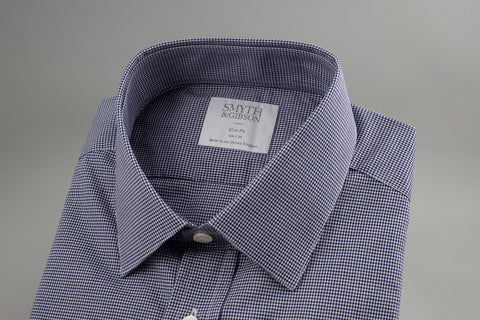 Smyth & Gibson Gingham Slim Penny Square in Checked Navy - Smyth & Gibson Shirts