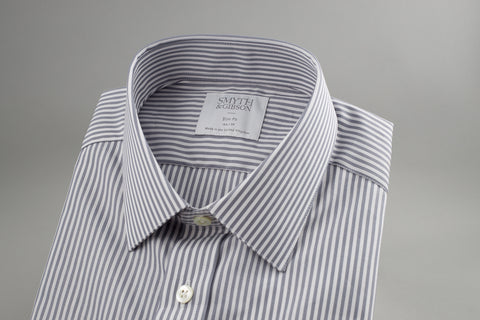 Smyth & Gibson Poplin Slim Penny Square in White in Grey Stripes