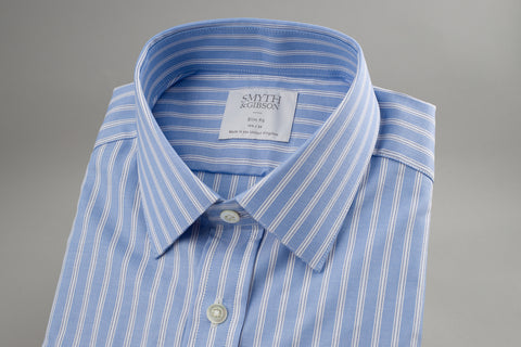 Smyth & Gibson Oxford Slim Penny Square in Blue & White Multi Stripe - Smyth & Gibson Shirts