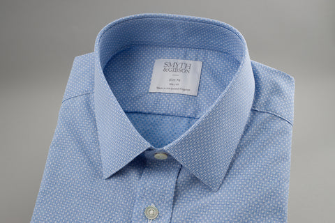 Smyth & Gibson Box Print Slim Penny Square in Blue - Smyth & Gibson Shirts