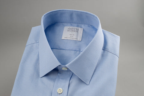 Smyth & Gibson Houndtooth Slim Penny Square in Pale Blue - Smyth & Gibson Shirts