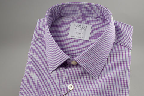 Smyth & Gibson Tailored Penny Square in Checked Purple - Smyth & Gibson Shirts