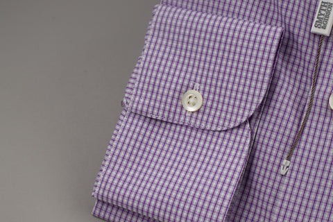 Smyth & Gibson Tailored Penny Square in Checked Purple