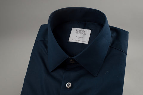 Smyth & Gibson Poplin Tailored Penny Square in Navy - Smyth & Gibson Shirts