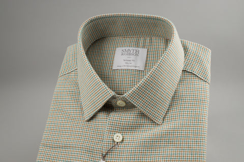 Smyth & Gibson Tailored Penny Square in Checked Green - Smyth & Gibson Shirts