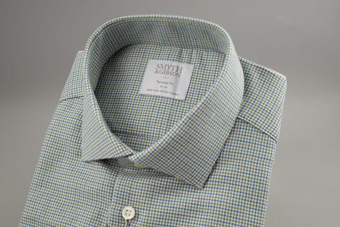 Smyth & Gibson Houndstooth Tailored Albany in Green/Blue Melange - Smyth & Gibson Shirts