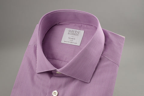 Smyth & Gibson Fine Tailored Albany in Purple/White Pin Stripe - Smyth & Gibson Shirts