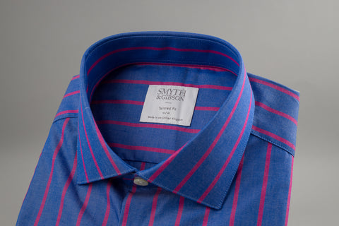 Smyth & Gibson Poplin Tailored Albany in Deep Blue & Red Stripes - Smyth & Gibson Shirts