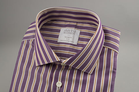 Smyth & Gibson Tailored Albany Purple Twill with Multi Gold Stripes - Smyth & Gibson Shirts