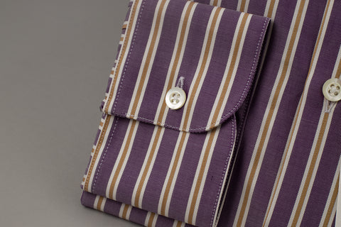 Smyth & Gibson Tailored Albany Purple Twill with Multi Gold Stripes