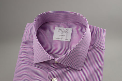 Smyth & Gibson Tailored Albany in Multi Twisted Lilac Stripes - Smyth & Gibson Shirts
