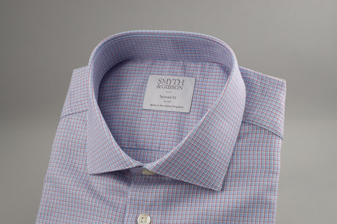 Smyth & Gibson Tailored Albany in Textured Blue, Red & White - Smyth & Gibson Shirts