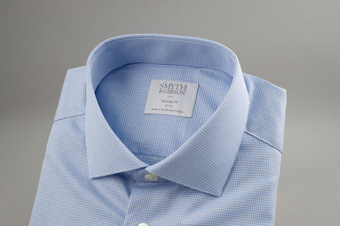 Smyth & Gibson Box Print Tailored Albany in Blue - Smyth & Gibson Shirts