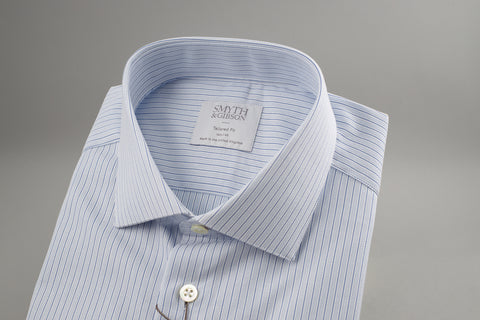 Smyth & Gibson Tailored Albany Textured in Navy Pin Stripe - Smyth & Gibson Shirts