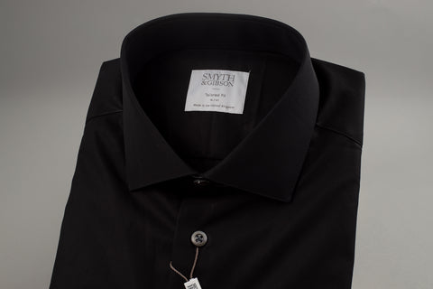 Smyth & Gibson Poplin Tailored Albany in Black - Smyth & Gibson Shirts