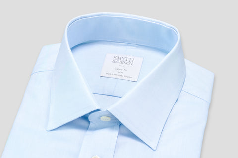 Smyth & Gibson Plain Twill Classic Fit Shirt in Sky Blue - Smyth & Gibson Shirts