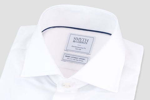 Smyth & Gibson S.W.E. Non-Iron Plain Poplin Contemporary Fit Shirt in White - Smyth & Gibson Shirts