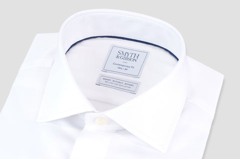 Smyth & Gibson S.W.E. Non-Iron Plain Twill Contemporary Fit Shirt in White - Smyth & Gibson Shirts