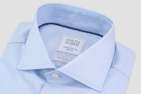 Smyth & Gibson S.W.E. Non-Iron Micro Herringbone Twill Contemporary Fit Shirt in Sky Blue - Smyth & Gibson Shirts