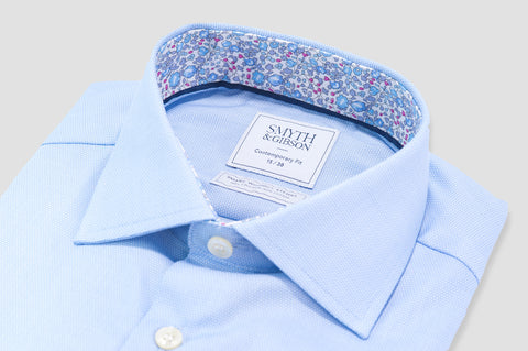 Smyth & Gibson S.W.E. Non-Iron Liberty Print Contrast Pique Contemporary Fit Shirt in Sky Blue - Smyth & Gibson Shirts
