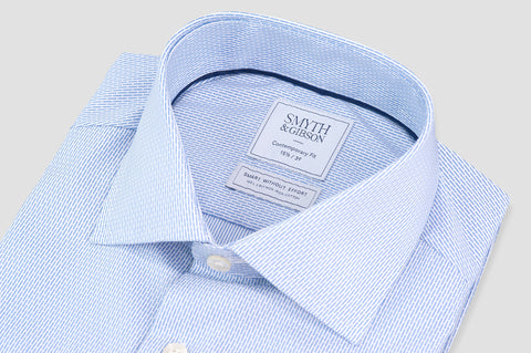 Smyth and Gibson Non-Iron Pique Dobby Stripe Contemporary Fit Shirt in Sky Blue - Smyth & Gibson Shirts